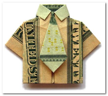 оригами - рубашка из доллара с галстуком