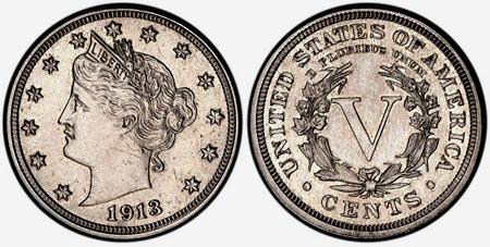 5 центов Голова свободы  1913