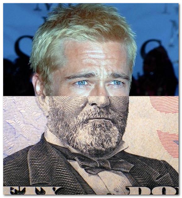 Bred Pitt i Ylss Grant s 50 - dollarovoi banknoti