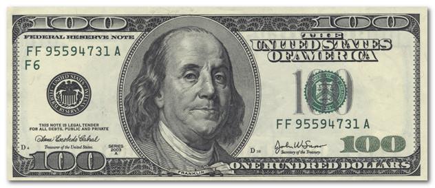 банкнота 100 долларов США