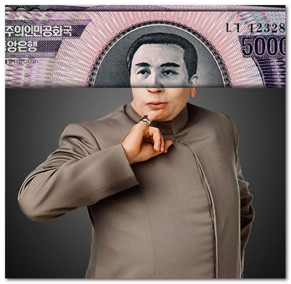 Kim Ir Sen na banknote Severnoi Korei i doktor Zlo