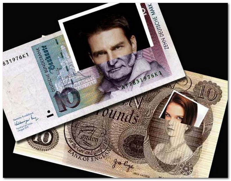 Tom Kruz i Keti Holms na angliiskom i nemeckoi banknotah