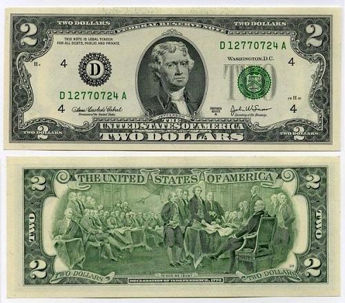 редкая купюра 2 доллара