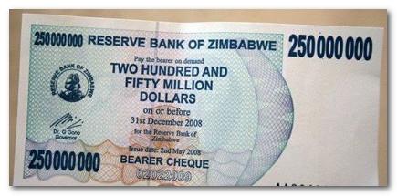 купюра 250 миллионов зимбабвийских долларов
