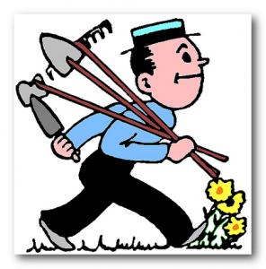 человек с лопатой и граблями