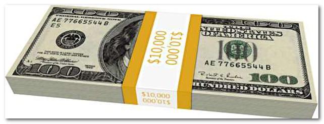 10000 долларов США в пачке по 100 долларов
