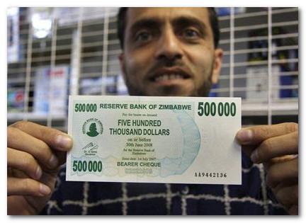 купюра в 500000 долларов Зимбабве