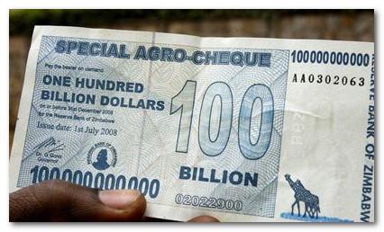 купюра 100 миллиардов зимбабвийских долларов