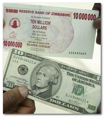 сравнение доллара Зимбабве и доллара США