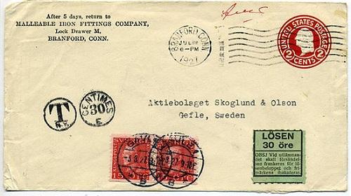 почтовая марка на конверте