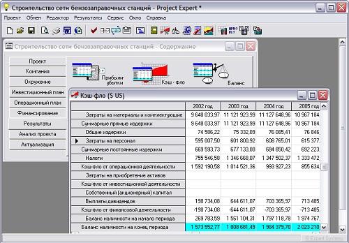окно программы project expert