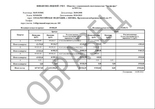 пример выписки расчетного счета