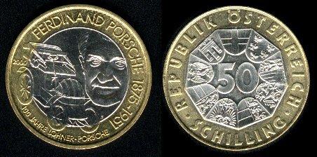 Пятьдесят шиллингов к сотому юбилею Lohner Porshe