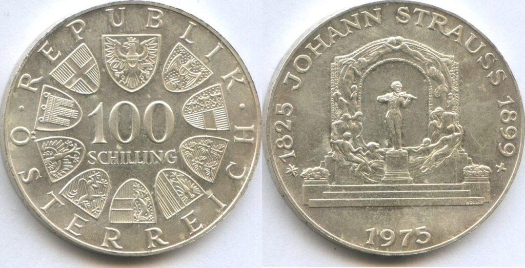 100 шиллингов с изображением Иоганна Штрауса